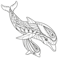 Antistress Coloring Book Dolphin Sticker