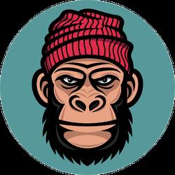 Ape Head In A Knitted Cap Sticker