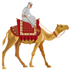 Arab Man Riding A Camel Sticker