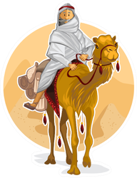 Arabian Bedouin Riding A Camel Sticker