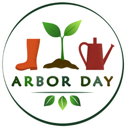 Arbor Day Boot, Sapling, Watering Can Sticker