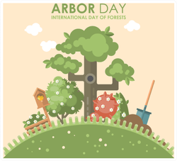 Arbor Day International Day Of Forests Grown Tree Sticker