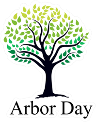 Arbor Day Lettering Under Tree Sticker