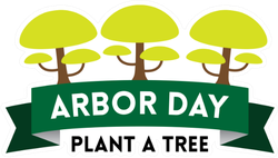 Arbor Day Plant A Tree Green Ribbon Sticker