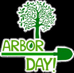 Arbor Day Tree And Shovel Sticker