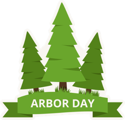 Arbor Day Trees With Green Ribbon Sticker