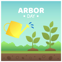 Arbor Day Watering Can And Saplings Sticker
