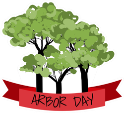 Arbor Day With Red Ribbon Sticker