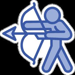 Archery Man Icon Outline Sticker
