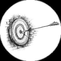 Archery Target With Arrow Sketch Sticker