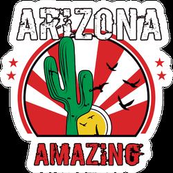 Arizona Amazing Green Cactus Lettering Sticker