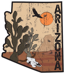 Arizona Desert Illustration Print Sticker