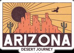 Arizona Desert Illustration With Rocky Mountains Sticker