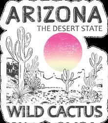 Arizona Desert State Wild Cactus Illustration Sticker