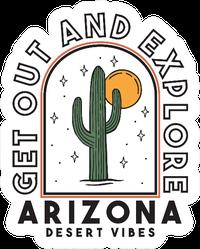 Arizona Desert Theme Illustration Lettering Sticker