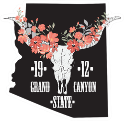 Arizona Illustration With Cow Skull Grand Canyon State 1912 Sticker