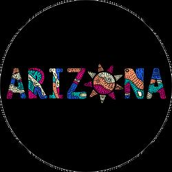 Arizona. Multicolor Doodle Sticker