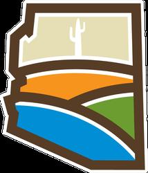 Arizona State Map With Desert Hills Sticker