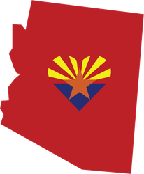 Arizona State with Heart Flag Sticker