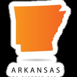 Arkansas Map - Usa, Orange With Lettering Sticker