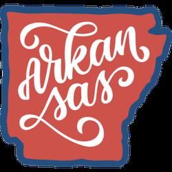 Arkansas Outline Calligraphy Illustration Sticker