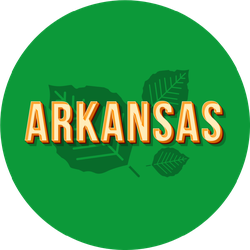 Arkansas Vintage Lettering On Green With Leaves Sticker
