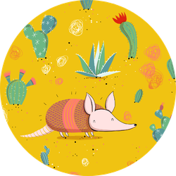 Armadillo Illustration Collection With Cacti Sticker