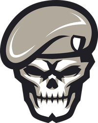 Army Skull Mascot Sports Logo Sticker