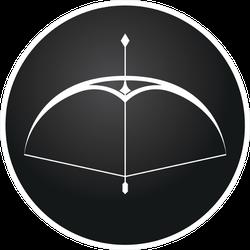 Arrow And Bow On Black Button Archery Sticker