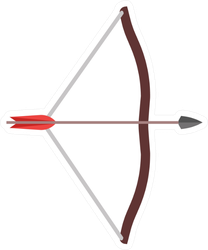 Arrow Bow Weapon Archery Illustration Icon Sticker