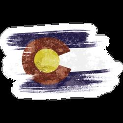 Art Brush Watercolor Colorado Flag Sticker