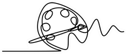 Art Equipment Of Brush And Paint One Line Drawing Sticker