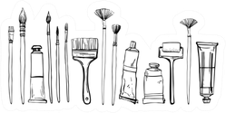 Artist Painting Materials Hand Drawn Sticker
