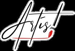 Artist Written In Brush Strokes Sticker