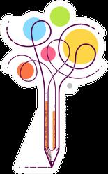 Artistic Illustration Of A Pencil Sticker