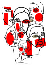 Artistic Portrait Of Women In Abstract One Line Red Sticker