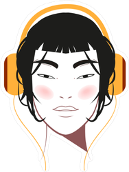 Asian Beauty with Big Headphones Sticker