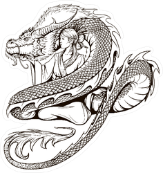 Asian Woman and Dragon Sticker