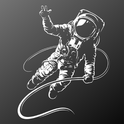 Astronaut Black And White Illustration Sticker