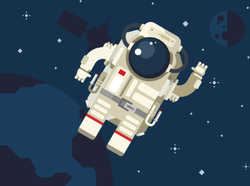 Astronaut Floating in Outer Space Sticker
