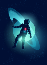Astronaut Floating Through Space Sticker