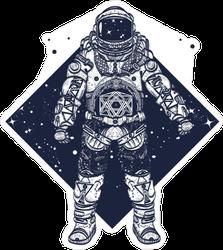Astronaut in Space Geometric Design Sticker