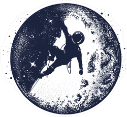 Astronaut On The Moon Double Exposure Artwork Sticker