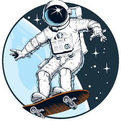 Astronaut Rides On Skateboard Sticker