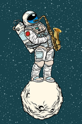 Astronaut Saxophonist In Space Sticker