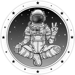 Astronaut Sitting In Buddha Pose Sticker