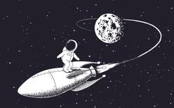 Astronaut Surfing on a Spaceship Sticker