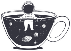 Astronaut Swims In A Cup With Space Sticker