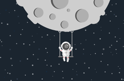 Astronaut Swinging On The Moon Sticker