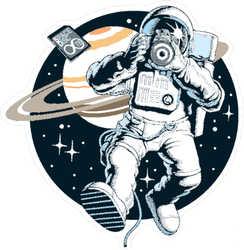 Astronaut Taking A Photo In Space Sticker